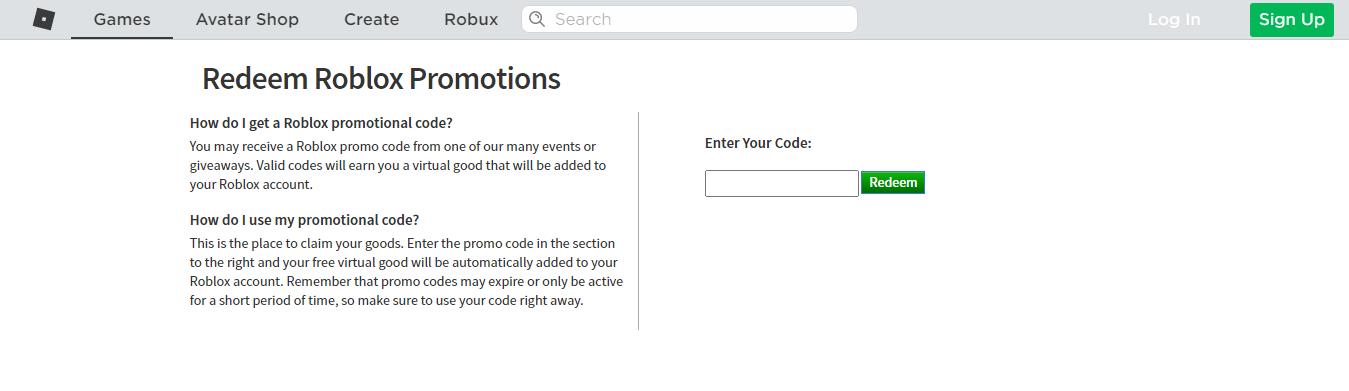 Roblox Promo Codes Redeem